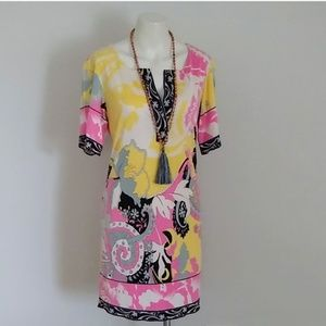 Elie Tahar shift yellow pink dress